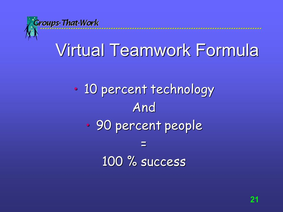 20 Virtual Teamwork Tip Teamwork is NOT just about getting the work done.
