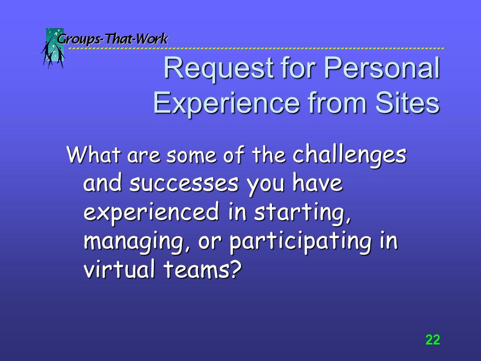 21 Virtual Teamwork Formula 10 percent technology10 percent technologyAnd 90 percent people90 percent people= 100 % success
