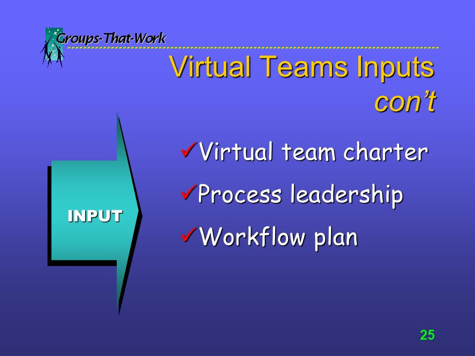 24 Virtual Team Inputs INPUT Mission/goals Mission/goals Resources Resources Calendar for action Calendar for action Team directory Team directory
