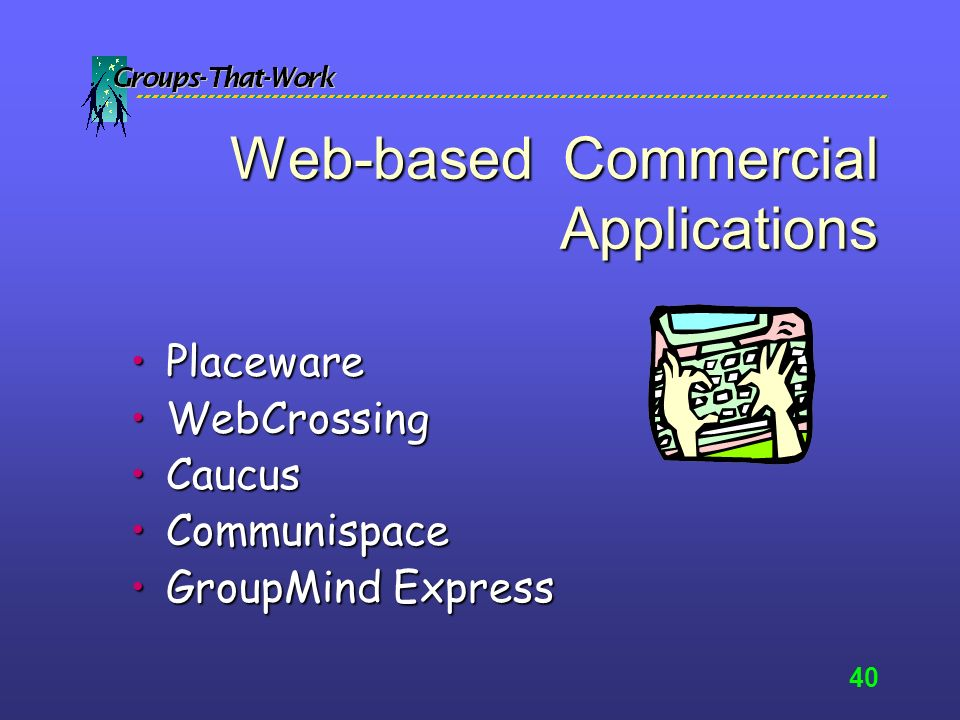 39 Web-based Collaboration Applications Egroups-YahooEgroups-Yahoo –Can set up directory of team member contact/profile information –Can set up multiple topics or threads for discussion –Great for organizing and retrieving past work MyPlaceMyPlace
