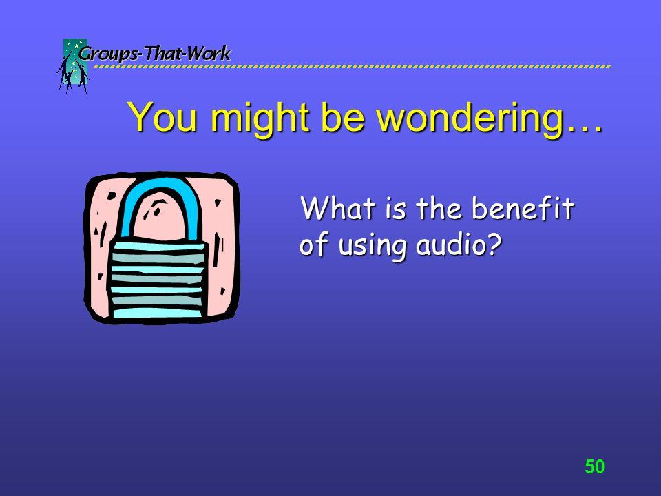 49 NetMeeting Demonstration ChatChat Sharing programs/documentsSharing programs/documents File transferFile transfer WhiteboardingWhiteboarding AudioAudio VideoVideo