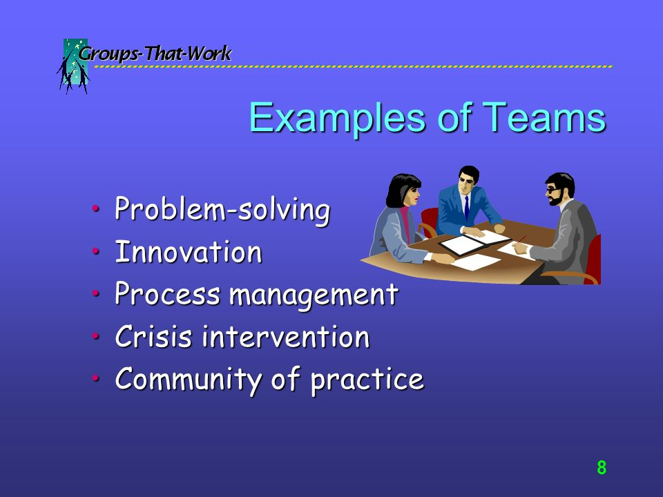 7 Definition of team A group of people who come together to achieve or satisfy a common purpose.A group of people who come together to achieve or satisfy a common purpose.