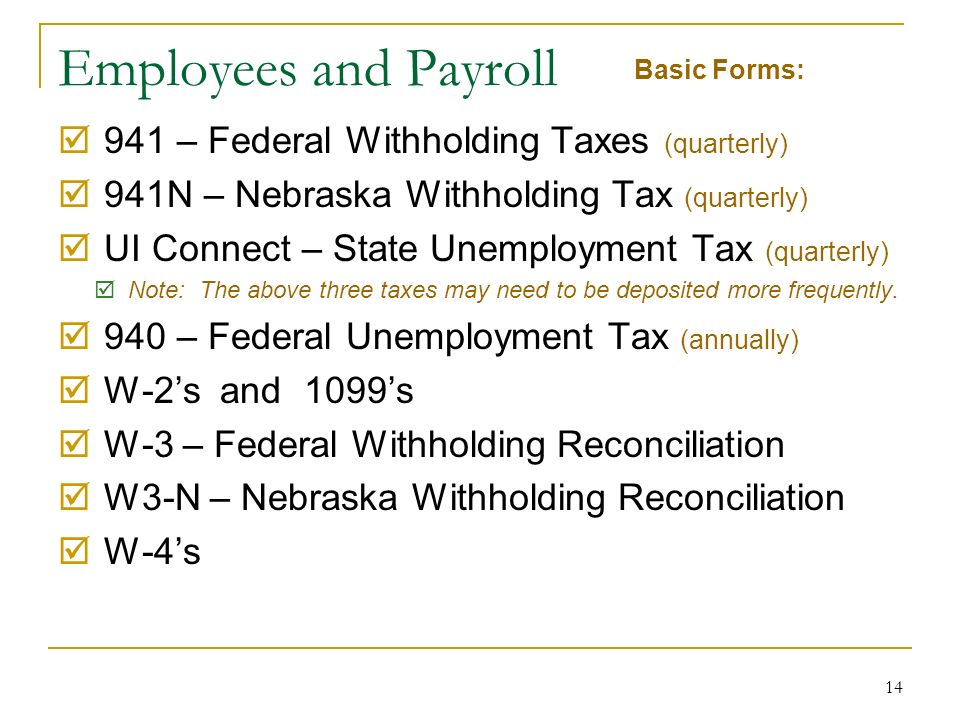 14 Employees and Payroll 941 – Federal Withholding Taxes (quarterly) 941N – Nebraska Withholding Tax (quarterly) UI Connect – State Unemployment Tax (quarterly) Note: The above three taxes may need to be deposited more frequently.