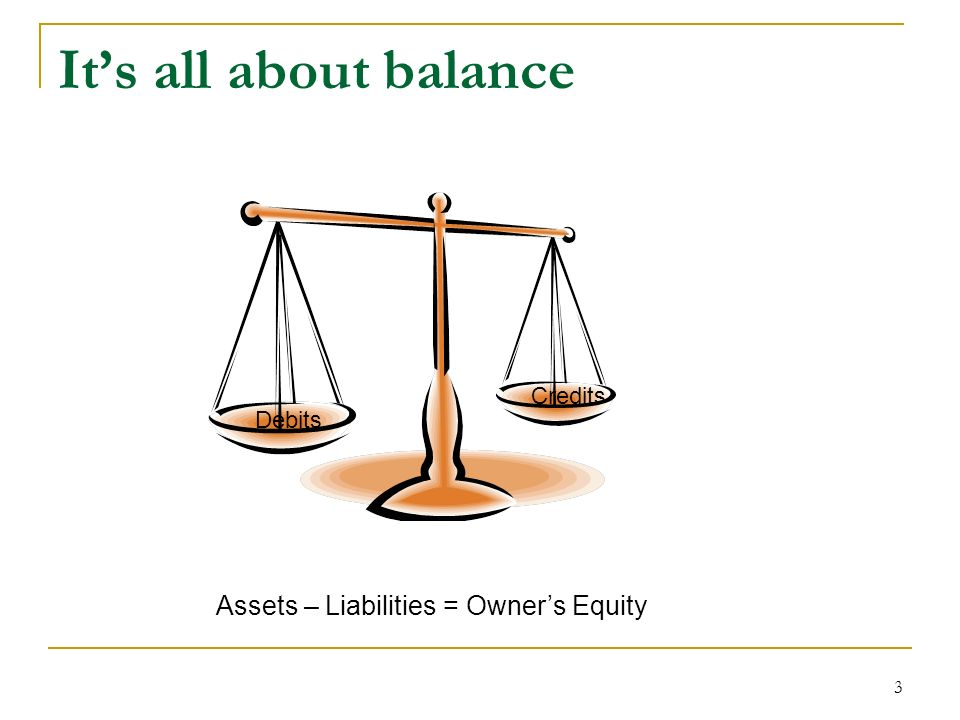 3 Its all about balance Assets – Liabilities = Owners Equity Debits Credits