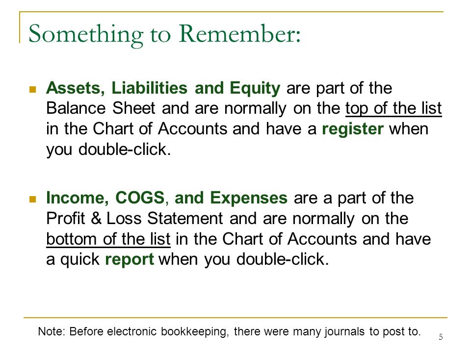 Something to Remember: Assets, Liabilities and Equity are part of the Balance Sheet and are normally on the top of the list in the Chart of Accounts and have a register when you double-click.