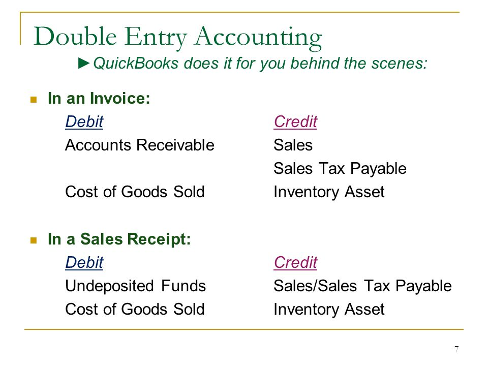 Double Entry Accounting Q: What does that mean? A: Posting Debits and Credits to the Balance Sheet and/or the Profit & Loss Statement. Note: The Balan