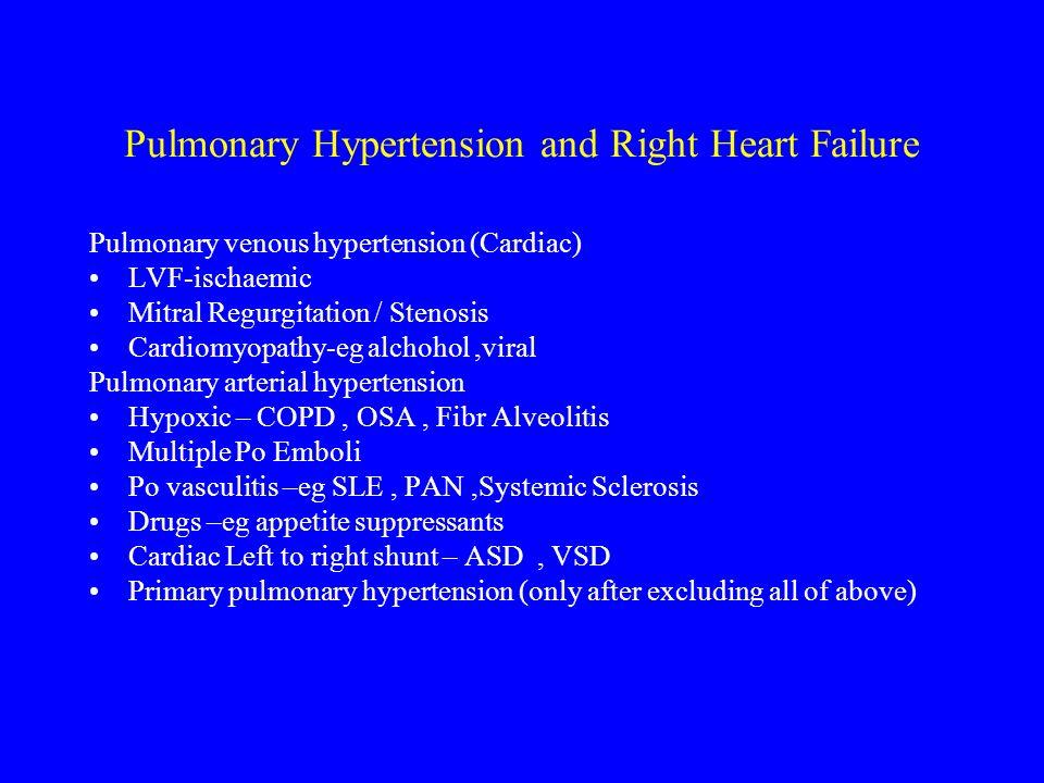 Pulmonary Hypertension and Right Heart Failure Pulmonary venous hypertension (Cardiac) LVF-ischaemic Mitral Regurgitation / Stenosis Cardiomyopathy-eg