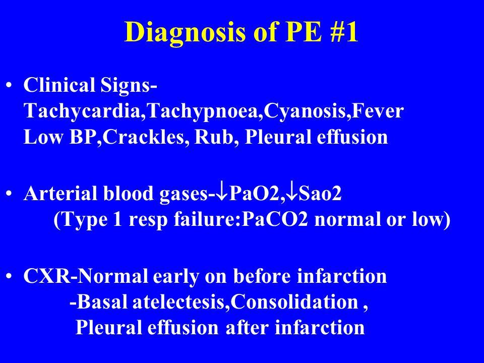 Diagnosis of PE #1 Clinical Signs- Tachycardia,Tachypnoea,Cyanosis,Fever Low BP,Crackles, Rub, Pleural effusion Arterial blood gases- PaO2, Sao2 (Type
