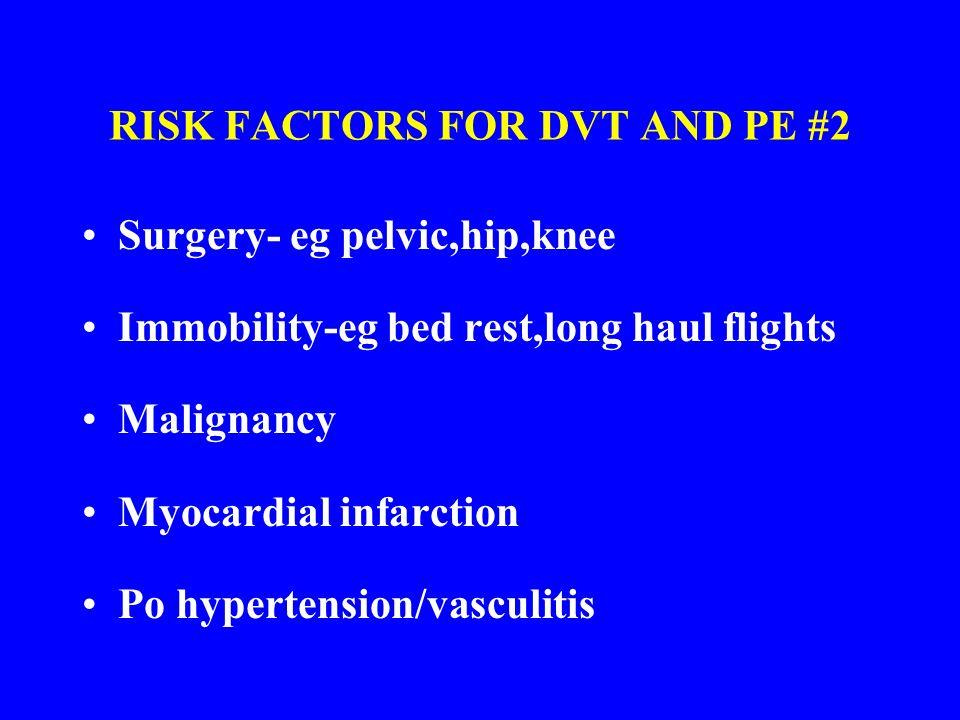 RISK FACTORS FOR DVT AND PE #2 Surgery- eg pelvic,hip,knee Immobility-eg bed rest,long haul flights Malignancy Myocardial infarction Po hypertension/v