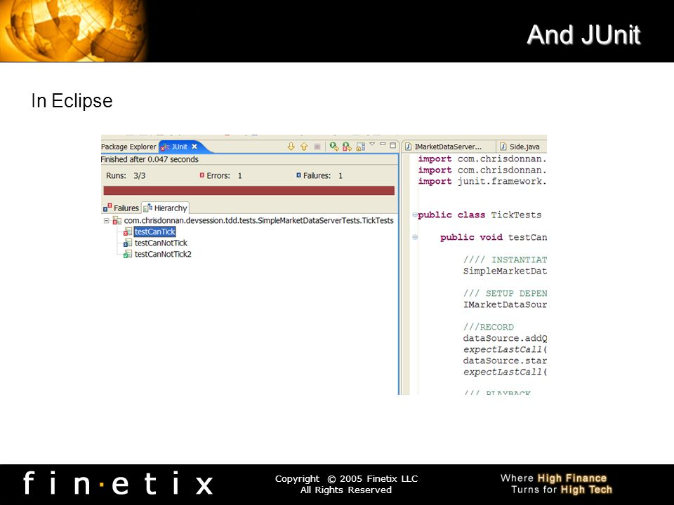 Copyright © 2005 Finetix LLC All Rights Reserved And JUnit In Eclipse