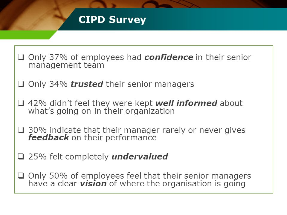 CIPD Survey Only 37% of employees had confidence in their senior management team Only 34% trusted their senior managers 42% didnt feel they were kept