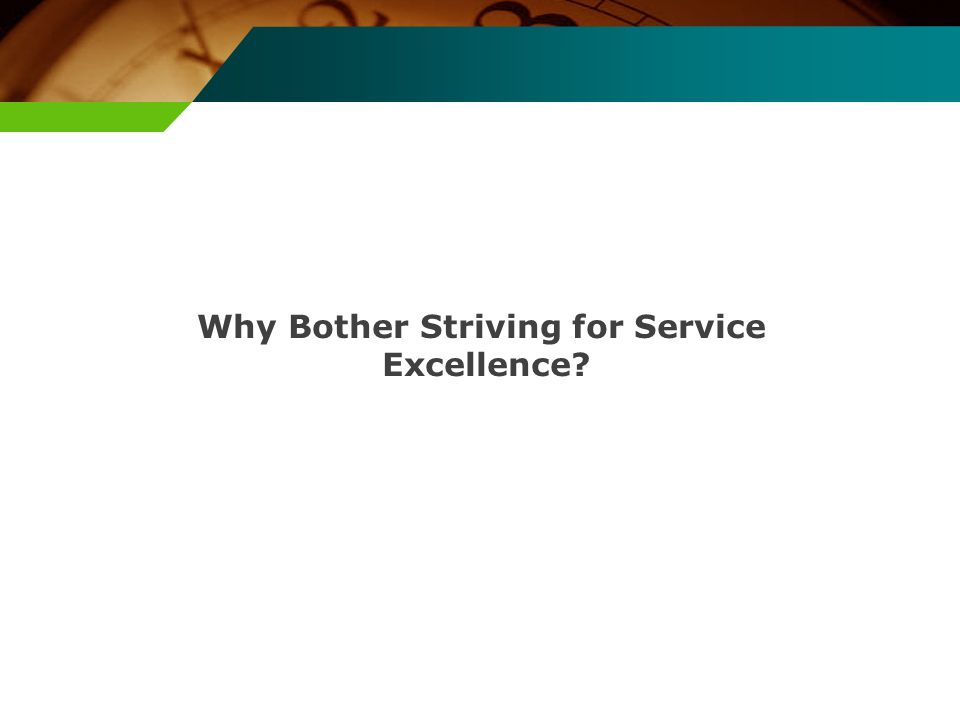 Why Bother Striving for Service Excellence?