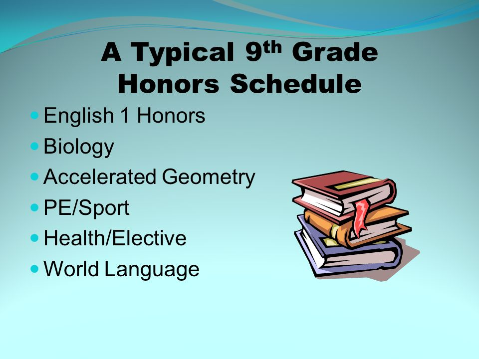 A Typical 9 th Grade Honors Schedule English 1 Honors Biology Accelerated Geometry PE/Sport Health/Elective World Language