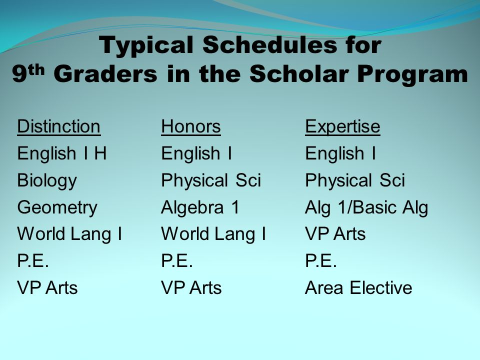 Typical Schedules for 9 th Graders in the Scholar Program DistinctionHonorsExpertise English I HEnglish IEnglish I BiologyPhysical SciPhysical Sci Geo