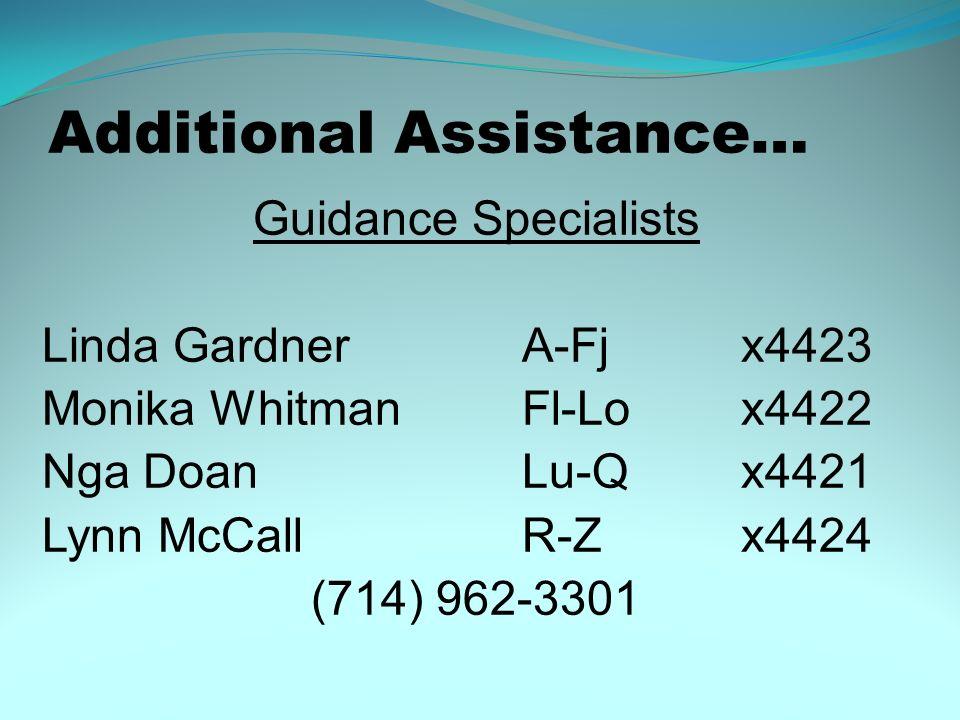 Additional Assistance… Guidance Specialists Linda GardnerA-Fj x4423 Monika WhitmanFl-Lo x4422 Nga DoanLu-Q x4421 Lynn McCallR-Z x4424 (714) 962-3301