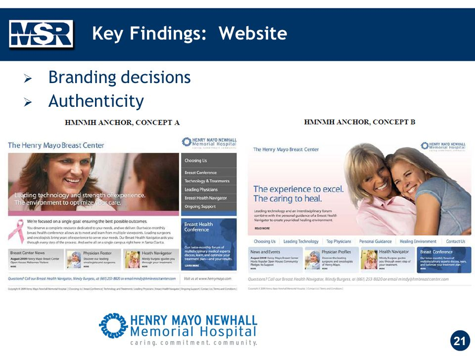 Key Findings: Website 21 Branding decisions Authenticity
