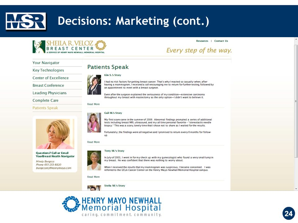 Decisions: Marketing (cont.) 24