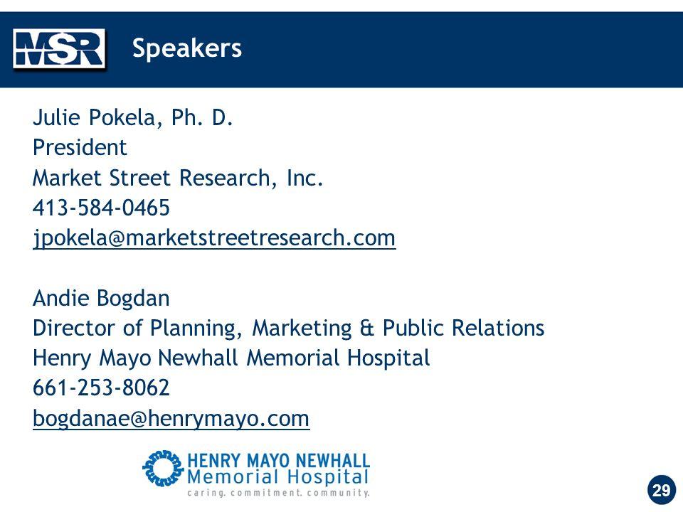 29 Speakers Julie Pokela, Ph. D. President Market Street Research, Inc. 413-584-0465 jpokela@marketstreetresearch.com Andie Bogdan Director of Plannin