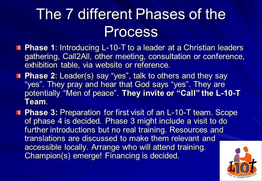 40 The 7 different Phases of the Process Phase 1: Introducing L-10-T to a leader at a Christian leaders gathering, Call2All, other meeting, consultati