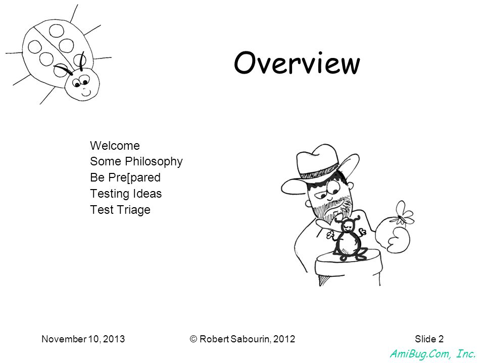 AmiBug.Com, Inc. November 10, 2013© Robert Sabourin, 2012Slide 2 Overview Welcome Some Philosophy Be Pre[pared Testing Ideas Test Triage