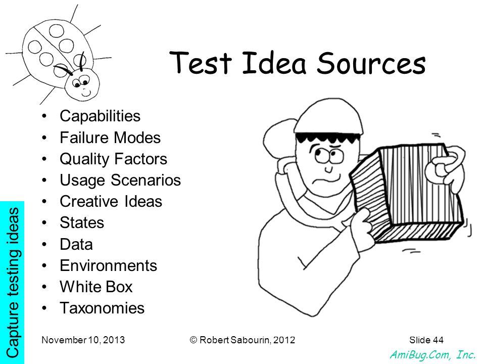 AmiBug.Com, Inc. November 10, 2013© Robert Sabourin, 2012Slide 44 Test Idea Sources Capabilities Failure Modes Quality Factors Usage Scenarios Creativ