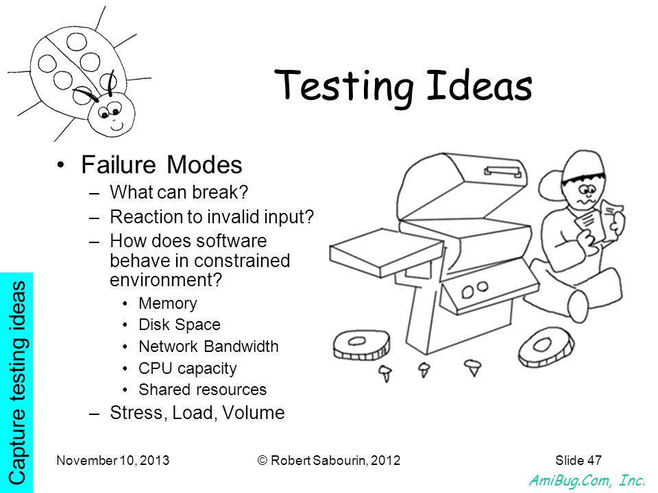 AmiBug.Com, Inc. November 10, 2013© Robert Sabourin, 2012Slide 47 Testing Ideas Failure Modes –What can break? –Reaction to invalid input? –How does s