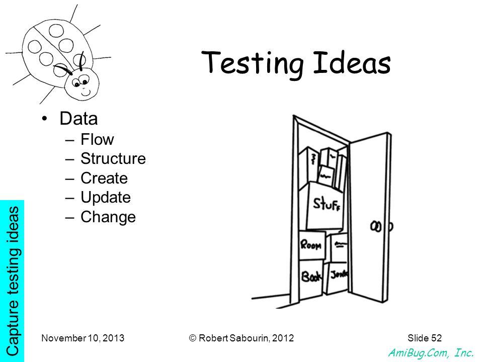AmiBug.Com, Inc. November 10, 2013© Robert Sabourin, 2012Slide 52 Testing Ideas Data –Flow –Structure –Create –Update –Change Capture testing ideas