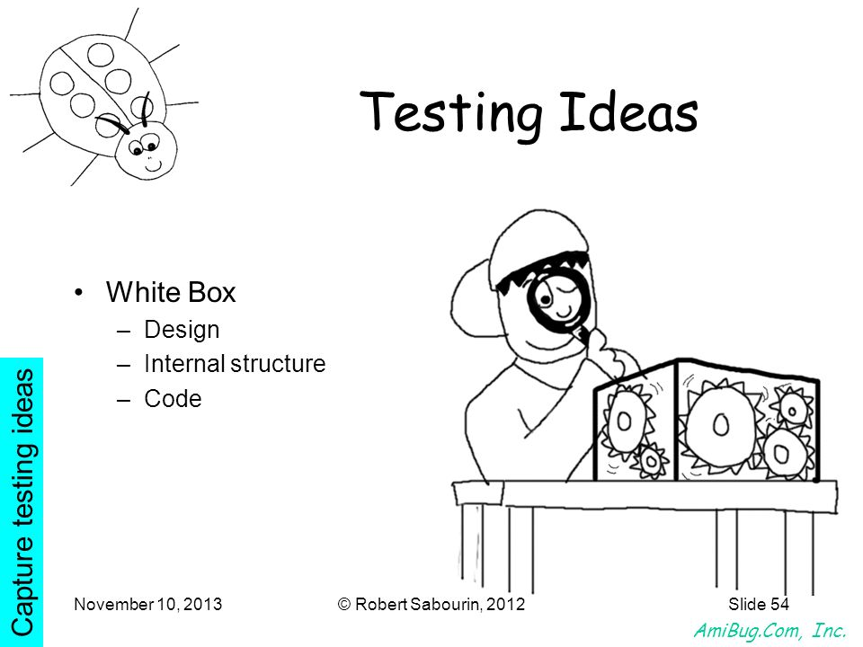 AmiBug.Com, Inc. November 10, 2013© Robert Sabourin, 2012Slide 54 Testing Ideas White Box –Design –Internal structure –Code Capture testing ideas