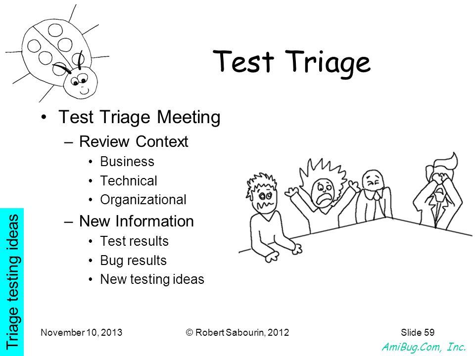 AmiBug.Com, Inc. November 10, 2013© Robert Sabourin, 2012Slide 59 Test Triage Test Triage Meeting –Review Context Business Technical Organizational –N