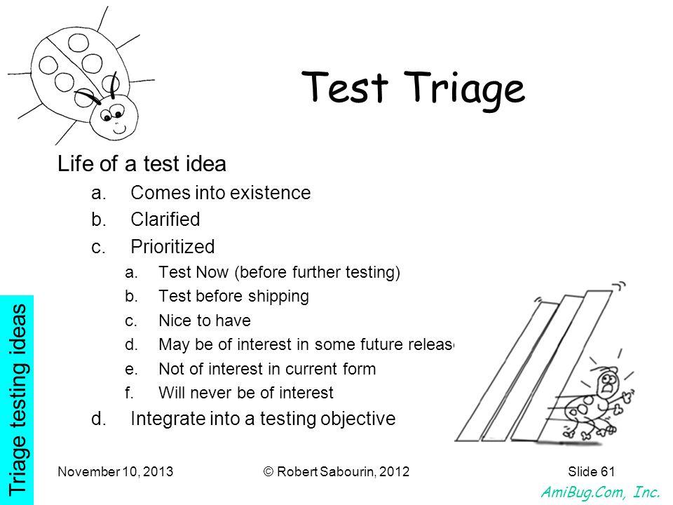 AmiBug.Com, Inc. November 10, 2013© Robert Sabourin, 2012Slide 61 Test Triage Life of a test idea a.Comes into existence b.Clarified c.Prioritized a.T