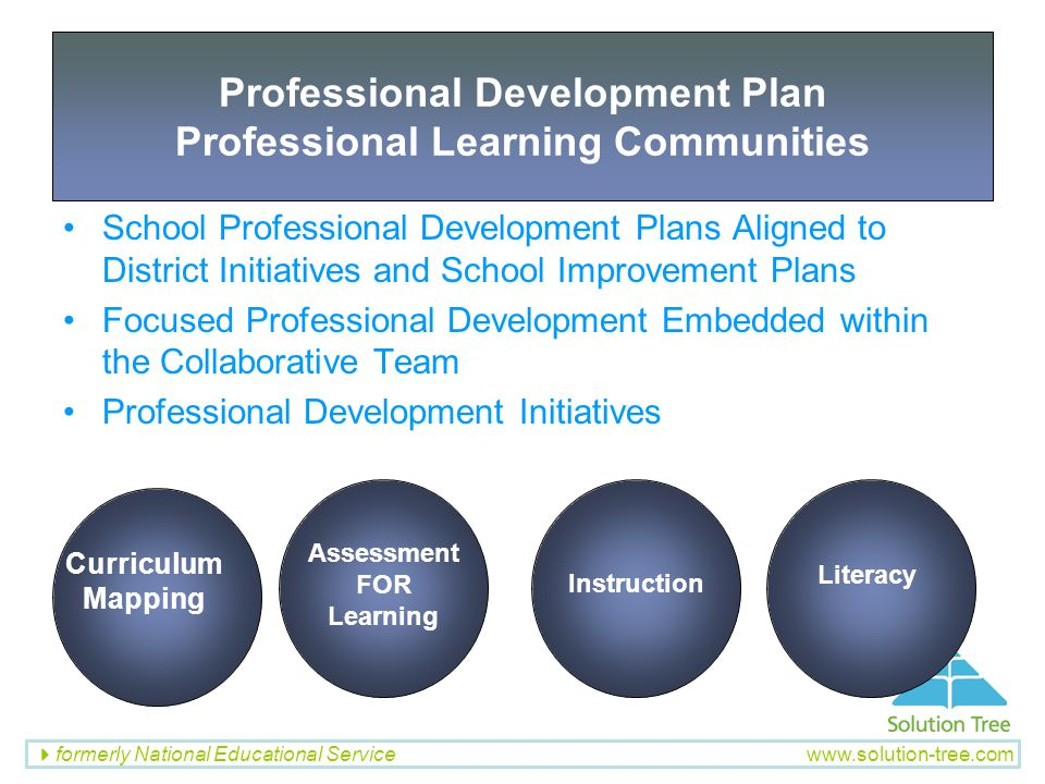 formerly National Educational Service www.solution-tree.com School Professional Development Plans Aligned to District Initiatives and School Improveme