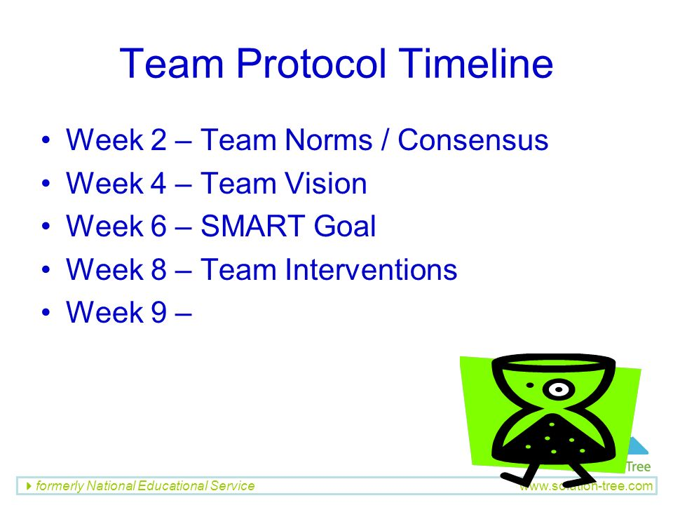 formerly National Educational Service www.solution-tree.com Team Protocol Timeline Week 2 – Team Norms / Consensus Week 4 – Team Vision Week 6 – SMART
