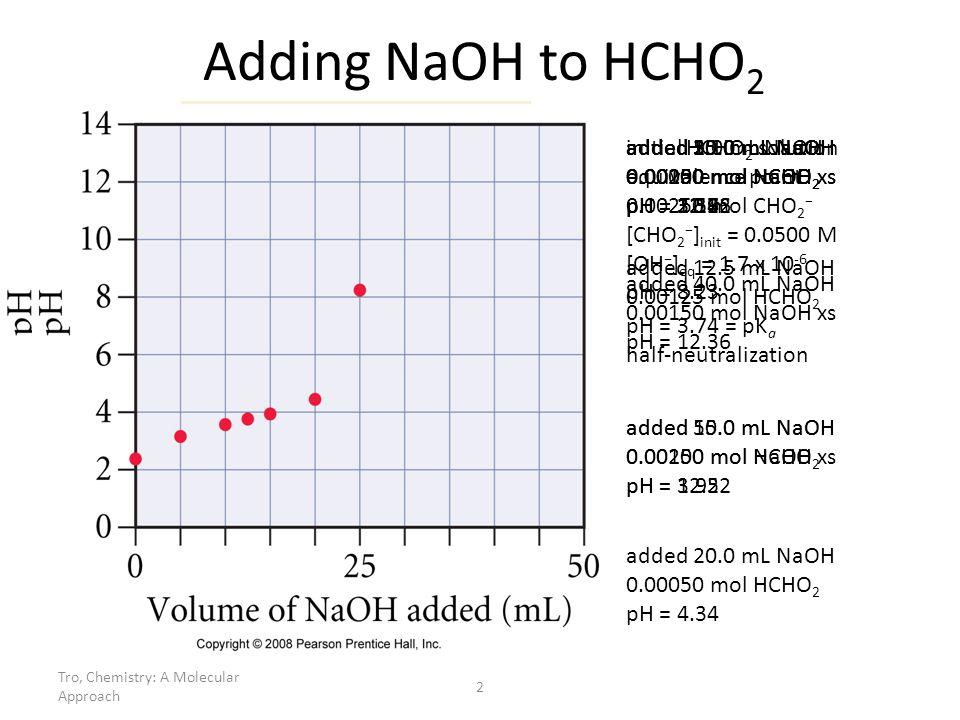 Tro, Chemistry: A Molecular Approach 2 added 30.0 mL NaOH 0.00050 mol NaOH xs pH = 11.96 added 35.0 mL NaOH 0.00100 mol NaOH xs pH = 12.22 Adding NaOH to HCHO 2 added 12.5 mL NaOH 0.00125 mol HCHO 2 pH = 3.74 = pK a half-neutralization initial HCHO 2 solution 0.00250 mol HCHO 2 pH = 2.37 added 5.0 mL NaOH 0.00200 mol HCHO 2 pH = 3.14 added 10.0 mL NaOH 0.00150 mol HCHO 2 pH = 3.56 added 15.0 mL NaOH 0.00100 mol HCHO 2 pH = 3.92 added 20.0 mL NaOH 0.00050 mol HCHO 2 pH = 4.34 added 40.0 mL NaOH 0.00150 mol NaOH xs pH = 12.36 added 25.0 mL NaOH equivalence point 0.00250 mol CHO 2 [CHO 2 ] init = 0.0500 M [OH ] eq = 1.7 x 10 -6 pH = 8.23 added 50.0 mL NaOH 0.00250 mol NaOH xs pH = 12.52