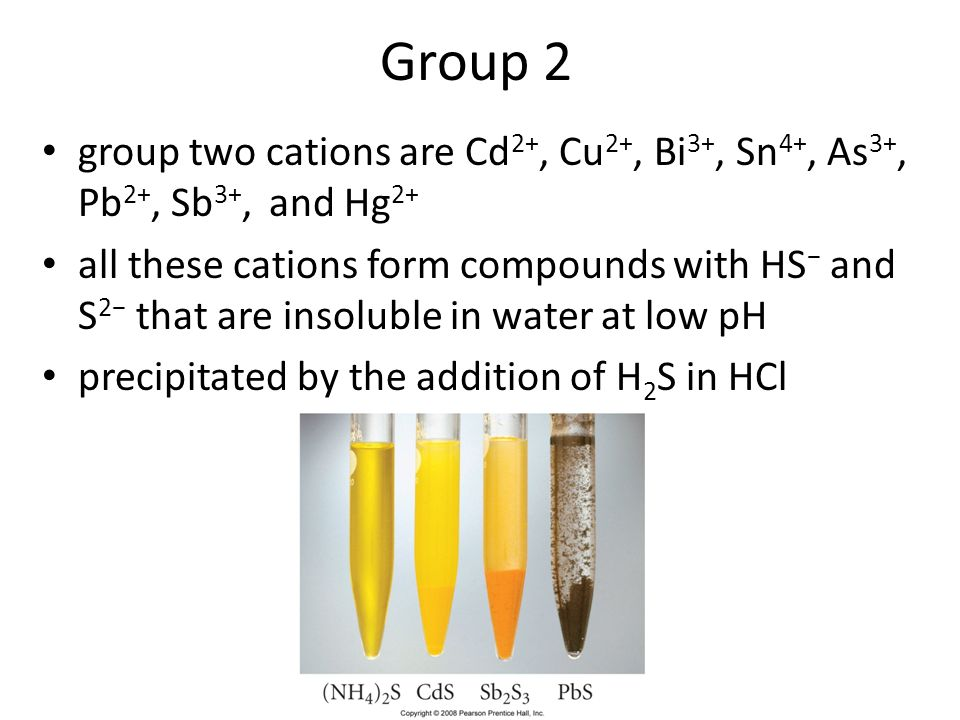 46 Group 2 group two cations are Cd 2+, Cu 2+, Bi 3+, Sn 4+, As 3+, Pb 2+, Sb 3+, and Hg 2+ all these cations form compounds with HS and S 2 that are