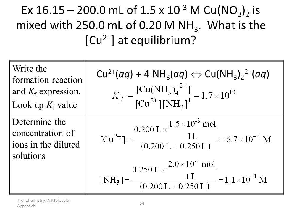 Tro, Chemistry: A Molecular Approach 54 Ex 16.15 – 200.0 mL of 1.5 x 10 -3 M Cu(NO 3 ) 2 is mixed with 250.0 mL of 0.20 M NH 3. What is the [Cu 2+ ] a
