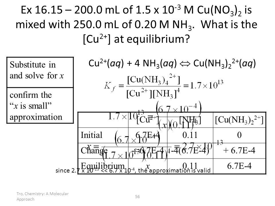 Tro, Chemistry: A Molecular Approach 56 Ex 16.15 – 200.0 mL of 1.5 x 10 -3 M Cu(NO 3 ) 2 is mixed with 250.0 mL of 0.20 M NH 3. What is the [Cu 2+ ] a