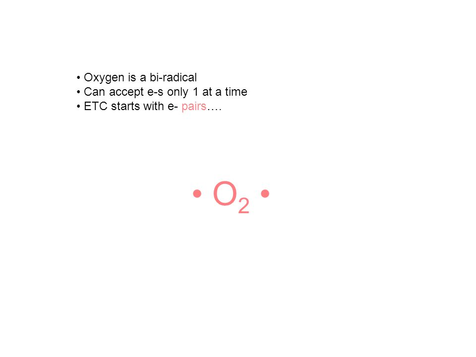 Oxygen is a bi-radical Can accept e-s only 1 at a time ETC starts with e- pairs…. O 2
