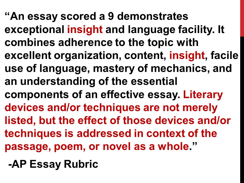 An essay scored a 9 demonstrates exceptional insight and language facility.