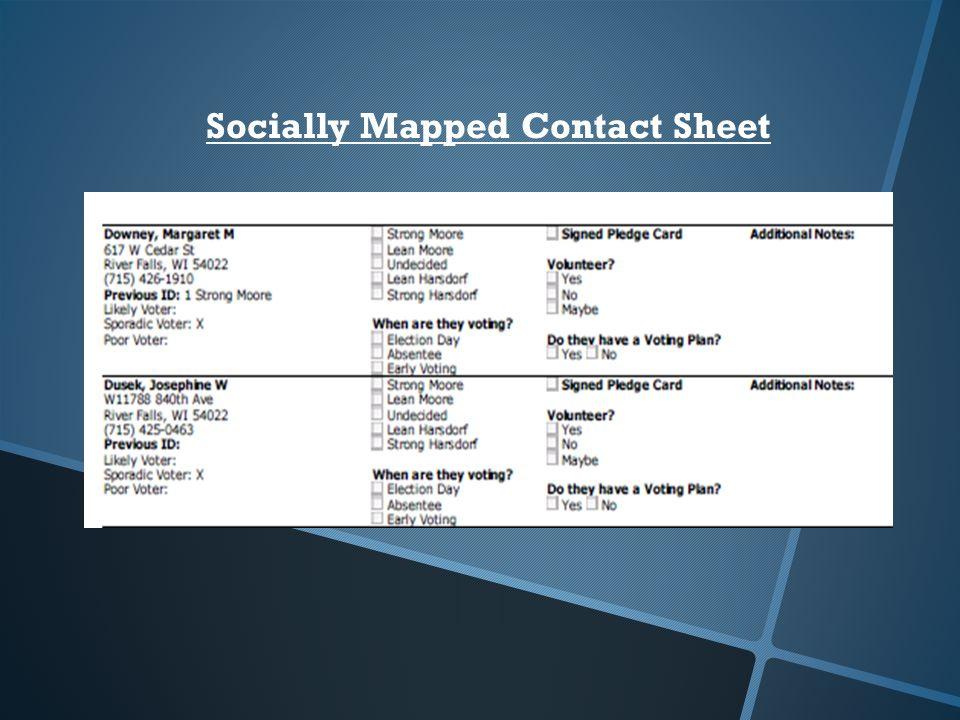 Socially Mapped Contact Sheet