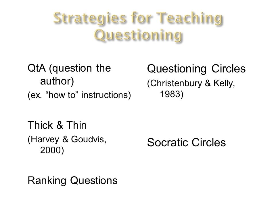 QtA (question the author) (ex. how to instructions) Thick & Thin (Harvey & Goudvis, 2000) Ranking Questions Questioning Circles (Christenbury & Kelly,