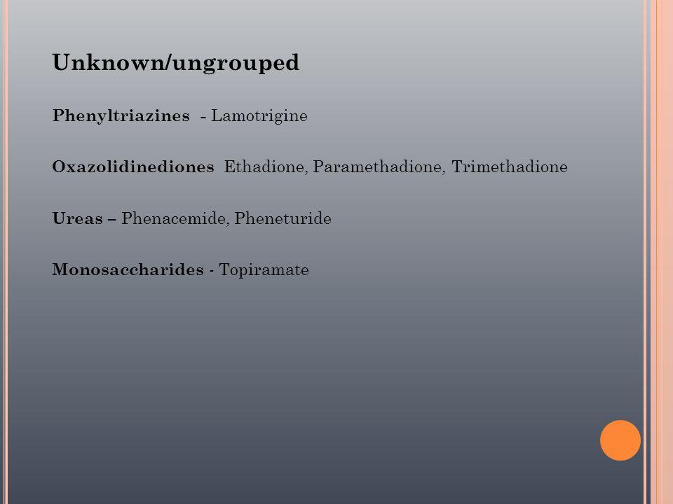 Unknown/ungrouped Phenyltriazines - Lamotrigine Oxazolidinediones Ethadione, Paramethadione, Trimethadione Ureas – Phenacemide, Pheneturide Monosaccha
