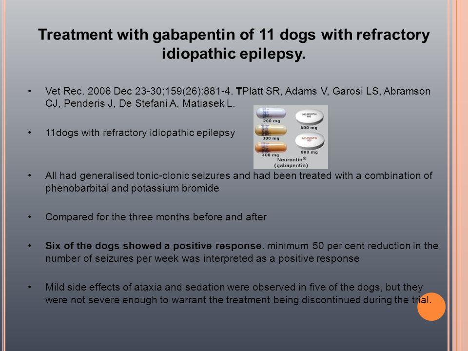 Treatment with gabapentin of 11 dogs with refractory idiopathic epilepsy. Vet Rec. 2006 Dec 23-30;159(26):881-4. TPlatt SR, Adams V, Garosi LS, Abrams