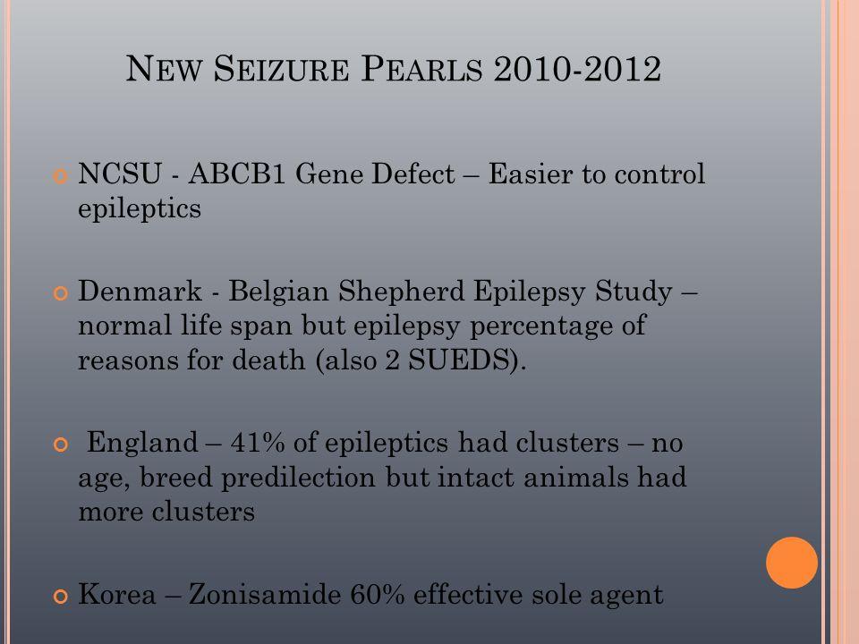 N EW S EIZURE P EARLS 2010-2012 NCSU - ABCB1 Gene Defect – Easier to control epileptics Denmark - Belgian Shepherd Epilepsy Study – normal life span b