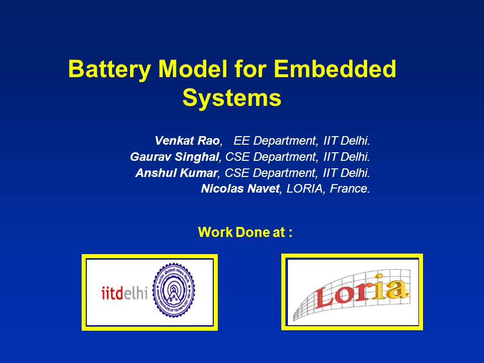 Introduction Battery Basics 1.Rate Capacity Effect 2.