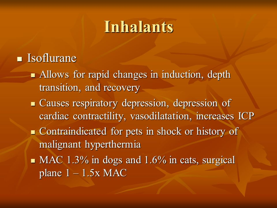 Inhalants Isoflurane Isoflurane Allows for rapid changes in induction, depth transition, and recovery Allows for rapid changes in induction, depth tra