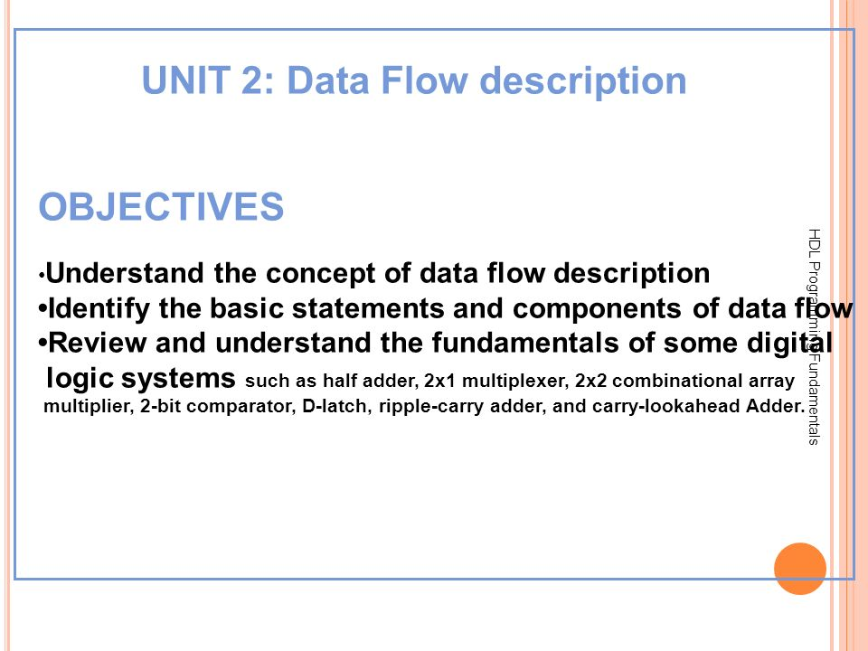 HDL Programming Fundamentals UNIT 2: Data Flow description OBJECTIVES Understand the concept of data flow description Identify the basic statements an