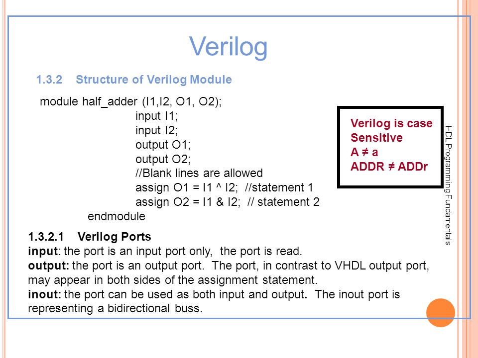 HDL Programming Fundamentals Verilog 1.3.2 Structure of Verilog Module module half_adder (I1,I2, O1, O2); input I1; input I2; output O1; output O2; //