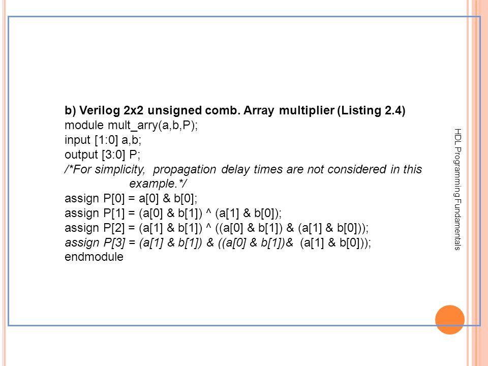 HDL Programming Fundamentals b) Verilog 2x2 unsigned comb. Array multiplier (Listing 2.4) module mult_arry(a,b,P); input [1:0] a,b; output [3:0] P; /*