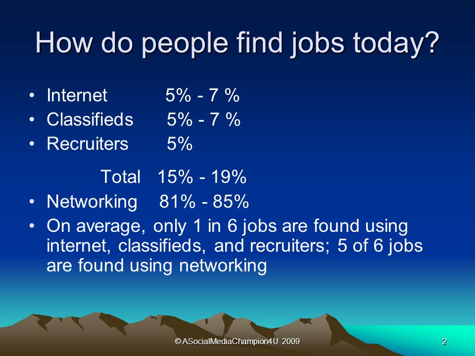 © ASocialMediaChampion4U 20092 How do people find jobs today.