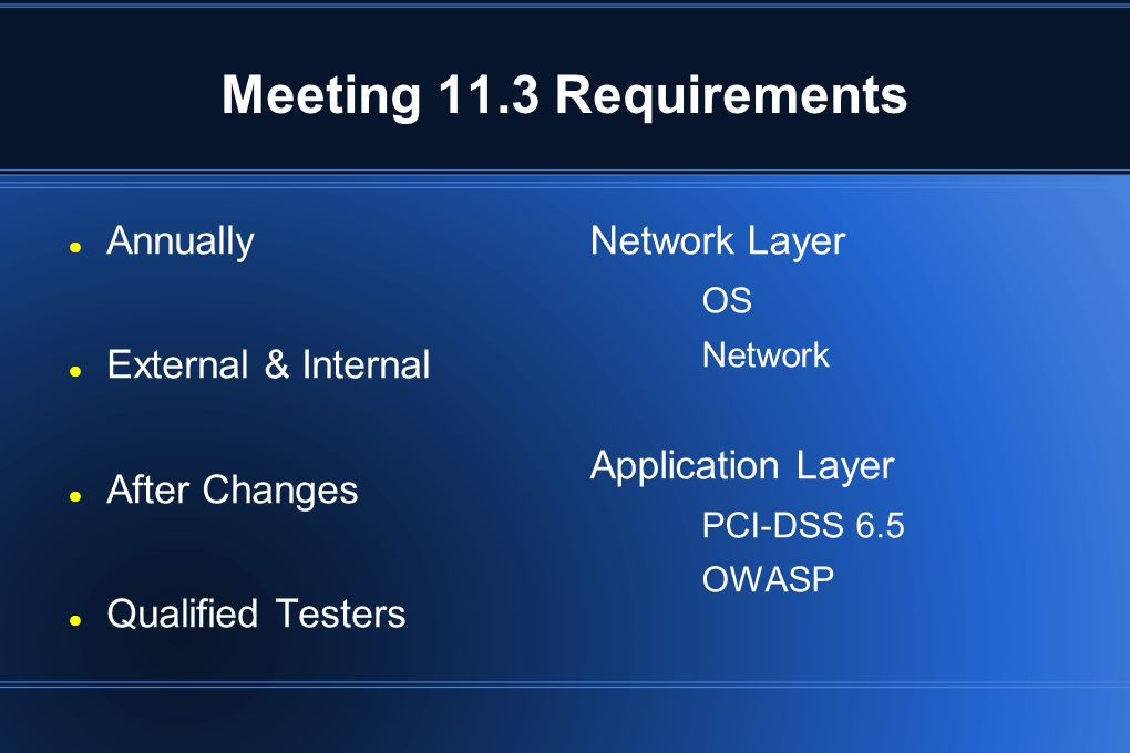 Meeting 11.3 Requirements Annually External & Internal After Changes Qualified Testers Network Layer OS Network Application Layer PCI-DSS 6.5 OWASP